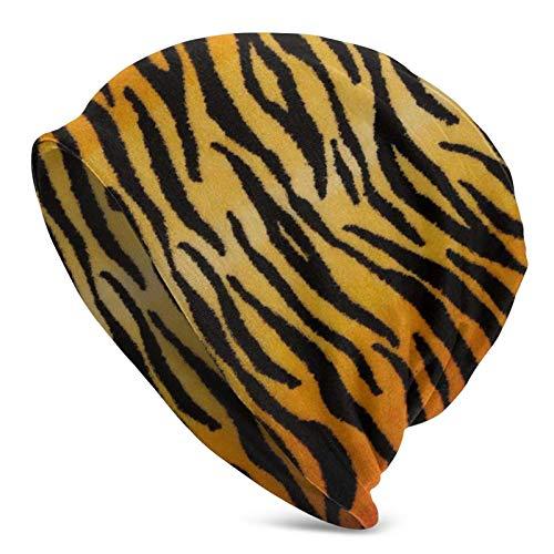 Animal Print Tiger Black Gold Adult Knit Sombreros Casual Unisex Beanie Hat Print Skull Cap Negro para Hombres...