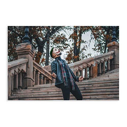 Payaso juego de rol, maquillaje, escaleras, hombre, chaqueta vaquera, bufanda, collar de lona póster decoración de dormitorio, paisaje, oficina, sala de regalo, 50 x 75 cm, estilo unframe-1