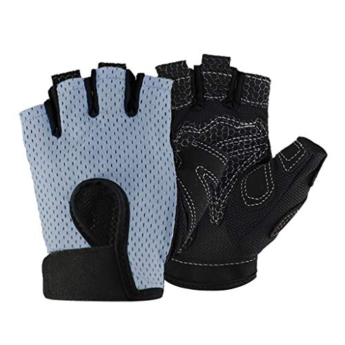 MIS1950s Half Finger Sport Gloves,Cycling Mountain Road Bike Racing Bicycle Gloves,Anti-Slip Breathable Wheelchair Exercise Gym Fitness Gloves for Men Women (M, Gray)