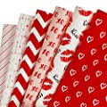 WRAPAHOLIC Gift Wrapping Paper Sheet - Red and Pink Design for Valentine's Day, Birthday, Holiday, Wedding, Baby Shower - 1 Roll Contains 6 Sheets - 17.5 inch X 30 inch Per Sheet