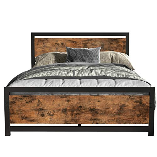 LIKIMIO Industrial Full Bed Frame with Headboard and Footboard, Strong 4 U-Shaped Support Frames & 2 Independent Support Rods & 9 Support Legs, Noise-Free, No Box Spring Needed