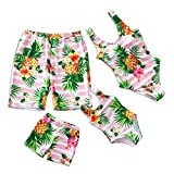 IFFEI Family Matching Swimsuit Pineapple Printed Striped Monokini One Piece Bathing Suit Beach Wear Men: M