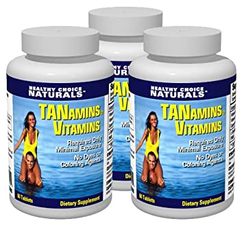 Tanamins Tanning Vitamin-Get a Darker Tan in Half the Time Without Expensive Tanning Beds  3 bottles/180 count
