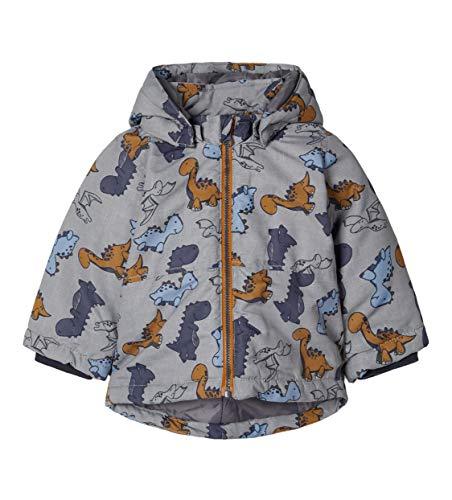 NAME IT Baby Jungen Winterjacke NBMMAX Jacket Dino, Größe:80, Farbe:Frost Gray