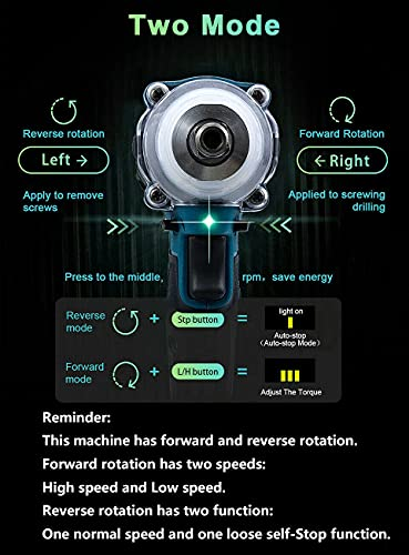 MIJPOJAN Electric Impact Wrench Cordless, DTW285Z Impact Wrench 1/2 Inch 18V Cordless Impact Driver with 1X5.0AH Battery