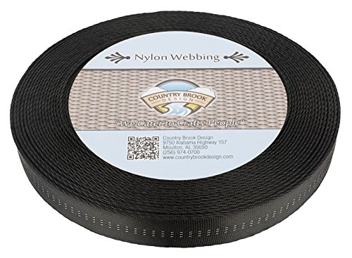 Country Brook Design 1 Inch Black Climbing Spec Tubular Nylon Webbing, 10 Yards
