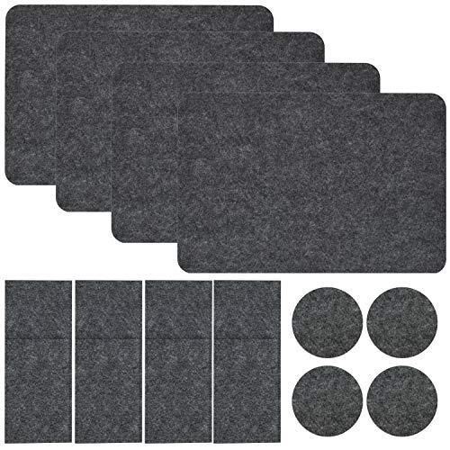 DuneDesign vilten Placemat - 43x30cm Tafelmat - Bestektas Onderzetter - Ø10cm rond Bierdeksel