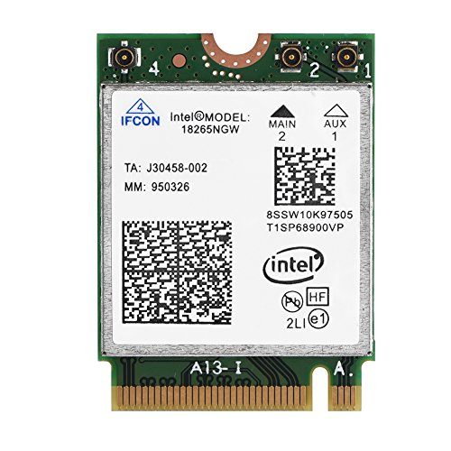 Richer-R Tarjeta WiFi inalámbrica Bluetooth 4.2 de Banda Dual, Tarjeta inalámbrica 802.11AC Intel 18265NGW NGFF M.2 WiFi, 2.4 / 5GHz para Acer, ASUS, DELL, Samsung, Sony, etc.