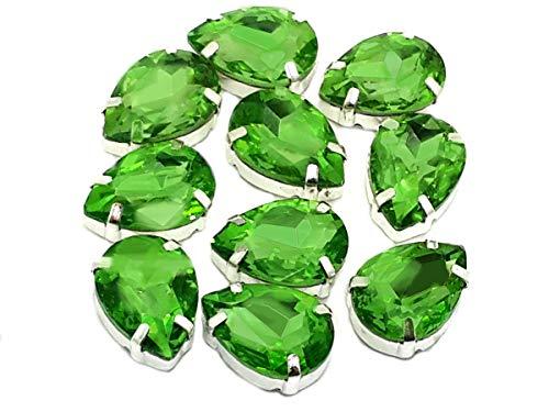 Eimass exquisite Glas-Kristalle zum Aufkleben oder Aufbügeln, Swarovski-Alternative, mit Glas-Rückseite, in silberner Einfassung, Peridot Green Teardrop, 10 x 14mm