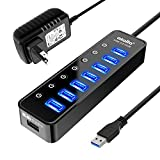【Instant expansion and SuperSpeed Syncing】-This 7-port USB 3.0 data hub can instantly expand 1 USB 3.0 port to 7 external USB 3.0 data ports for keyboard, mouse, printer, hard drivers and more USB devices, syncing data at blazing speeds up to 5Gbps i...