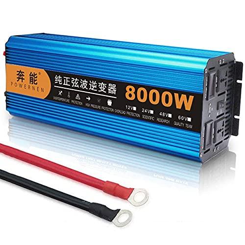 Inverter a onda sinusoidale pura, convertitore di tensione 12V / 24V / 48V a 230V 8000W convertitore con presa e connessione USB, adatto per casa, esterno,12V