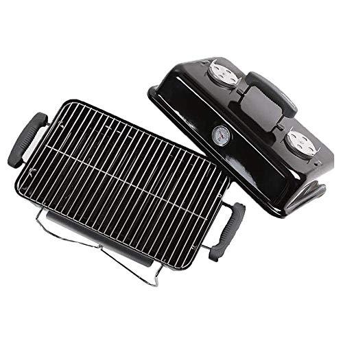 Gymqian Grill de la Barbacoa de Carbón, la Parrilla Portátil Plegable Al Aire Libre, el Material Del Esmalte de Alto Grado Fácil de Limpiar, con el Termómetro, Completamente Funcion