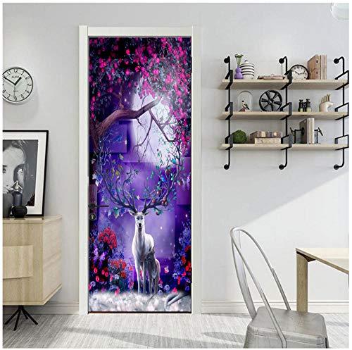 Fantastische Bloem Boom Giraffe Moon Creatieve Deur Sticker 3D Home Decoratie Woonkamer Slaapkamer Kledingkast Koelkast Verwijderbare PVC Vinyl Mural 95x215cm