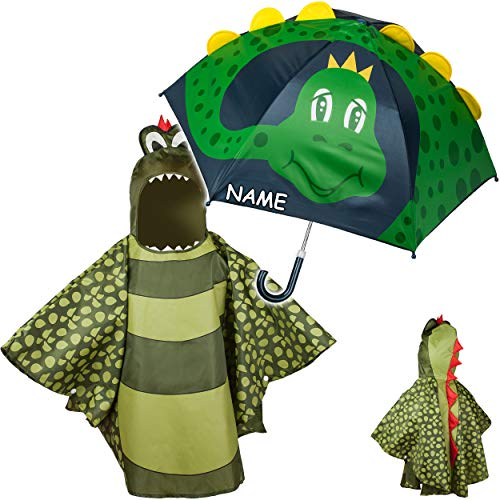 alles-meine.de GmbH 2 TLG. Set: 3D Effekt - Regenschirm + Regenponcho - Dinosaurier / Drache / Krokodil - inkl. Name - Kinderschirm - Ø 75 cm - Regencape - Kinder - 2 bis 6 Jahre..