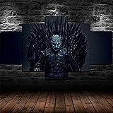 Loveygg 5 Piezas Pintura sobre Lienzo Moderna Pintura Impresión del Hogar Sala Estar Dormitorio Cuadro sobre Lienzo Regalo Carteles Game of Thrones Night King