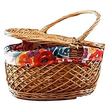 The Pioneer Woman Picnic Basket Wicker Willow and Lined Fits 11  Dinner Plate (Red Floral)