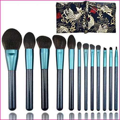 FASBHI Make-up-Pinsel-Set, 12 Blaue kleine Traube Make-up Pinsel Kleines Portugiesisch künstliche graue Maus Seide Stern blau Schönheitsset Pinsel