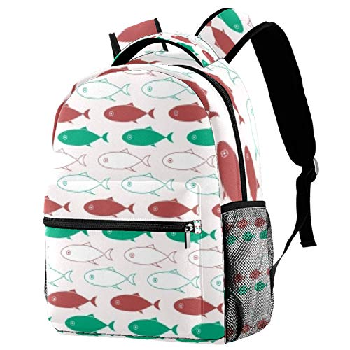 School of Fish Travel Laptop Backpack, Casual Durable Backpack Daypacks for Men Women for Work Office College Students Business Travel Schoolbag Bookbag
