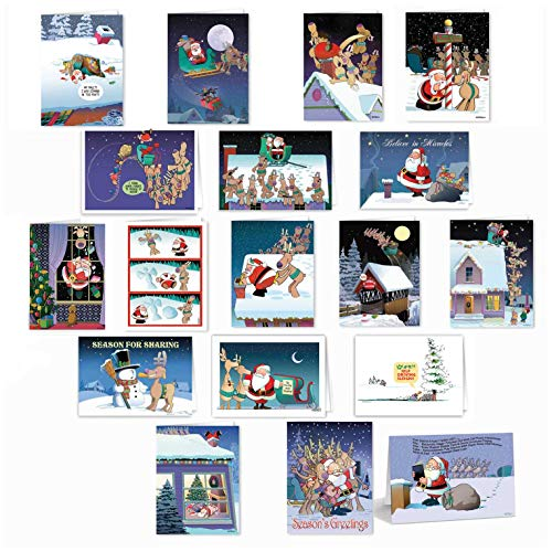 Boxed Set of 36 Funny Christmas Card Variety Pack - Ultimate Boxed Pack Cards & Envelopes - 18 Different Humorous Designs