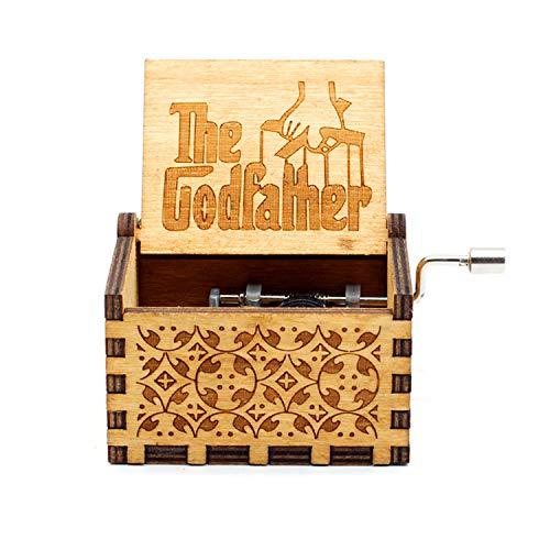 Die Pate Holz Spieluhr - 18 Note Mechanismus Antike Lasergravur Spieluhren Handwerk Melodie Schloss in der Hand