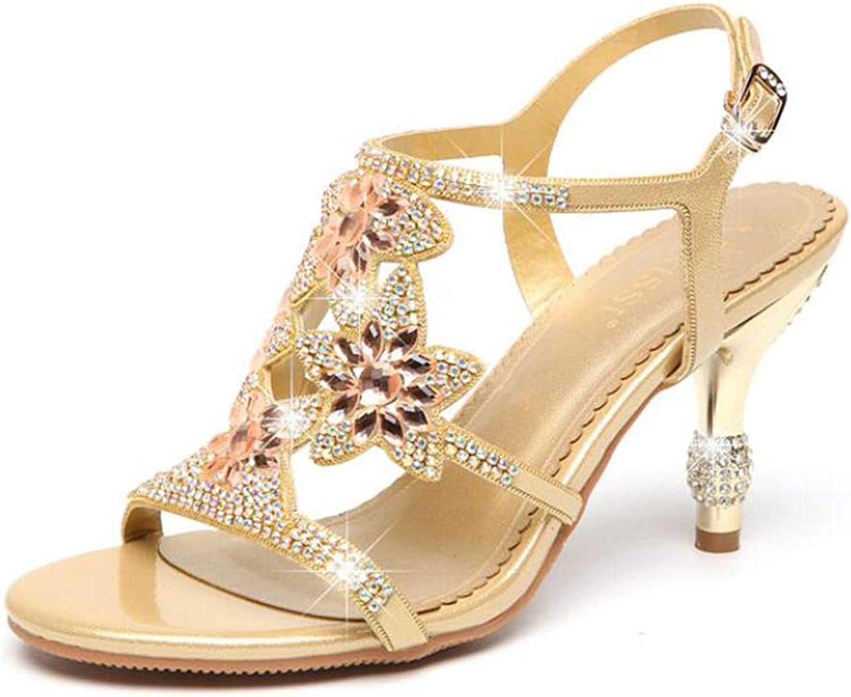 Women's Sandals Leather Diamond Summer Party High 6Cm Rhinestone gold Purple bluee,gold,39