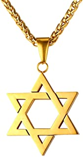 Men Women Jewish Jewelry Megan Star of David Pendant Necklace 18K Gold Israel Necklace, Rope or Leather Chain, Length 22