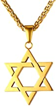 U7 Men Women Jewish Jewelry Megan Star of David Pendant Necklace 18K Gold Israel Necklace, Rope or Leather Chain, Length 22