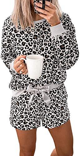 Conjunto de pijama de manga larga con estampado de leopardo para mujer