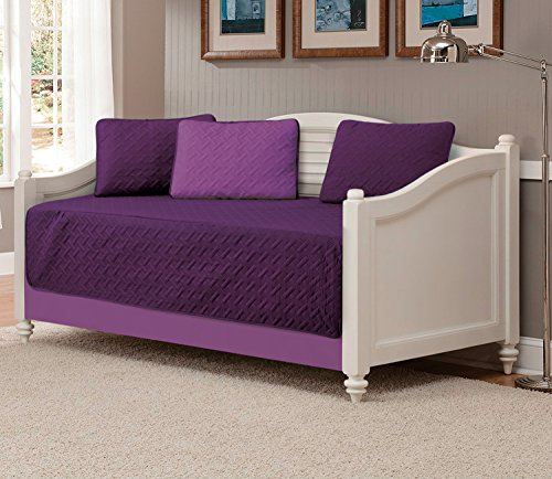 Mk Collection 5pc Modern Bedspread DayBed Solid Embossed Reversible Dark Purple / Light Purple New