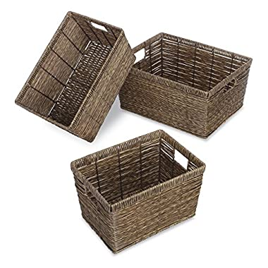 Whitmor Distressed Rattique Storage Baskets Set of 3