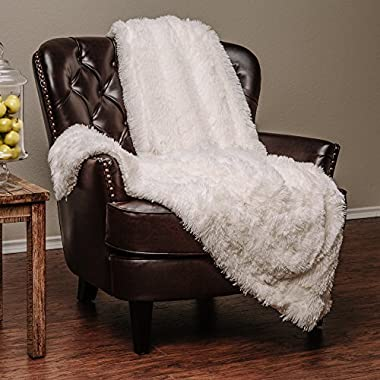 Chanasya Super Soft Shaggy Longfur Throw Blanket | Snuggly Fuzzy Faux Fur Lightweight Warm Elegant Cozy Plush Sherpa Fleece Microfiber Blanket | For Couch Bed Chair Photo Props - 50 x 65  - White