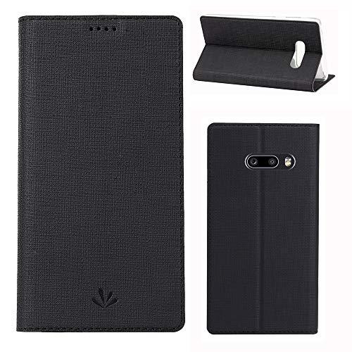 ROVLAK Hülle für LG G8X ThinQ Wallet Flip Hülle mit Kartenslot Stoßfeste PU Leder Hülle+Innenseite TPU Hülle mit Kickstand Tasche für LG G8X ThinQ Smartphone Hülle, Schwarz