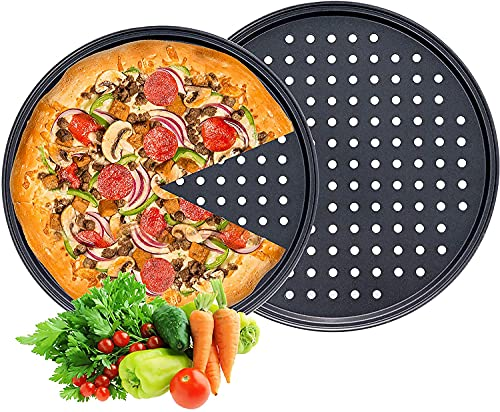 Pizza Pans with Holes, Round Pizza Baking Tray, 2 Pack Perforated Pizza Crisper Pan with Non-Stick Coating, Carbon Steel Pizza Plate for Oven Home Kitchen Restaurant Hotel Use, 13in and 11in