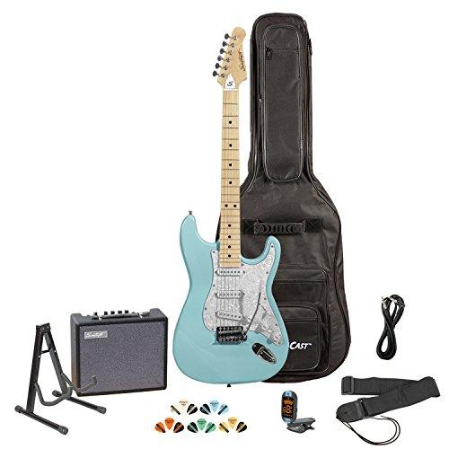 Sawtooth Black Electric Guitar w/Chrome Pickguard - Includes: Accessories, Amp, Gig Bag & Lesson