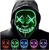 CompraFun Máscara Carnaval LED, Máscara Disfraz Luminosa Craneo Esqueleto, para Carnaval Navidad Halloween Cosplay Grimace Festival Fiesta Show Funciona con Baterías (no Incluidas)(Verde)