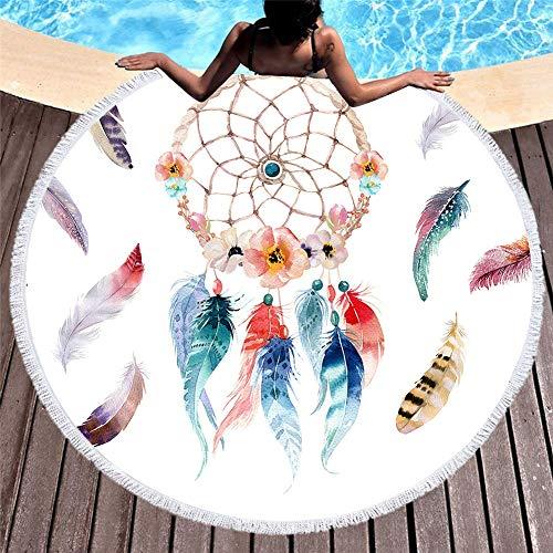 Anjaco Dreamcatcher Redondo Impreso Toalla De Playa De Microfibra Suave Impresión Digital Toalla De Playa 150 * 150 Cm