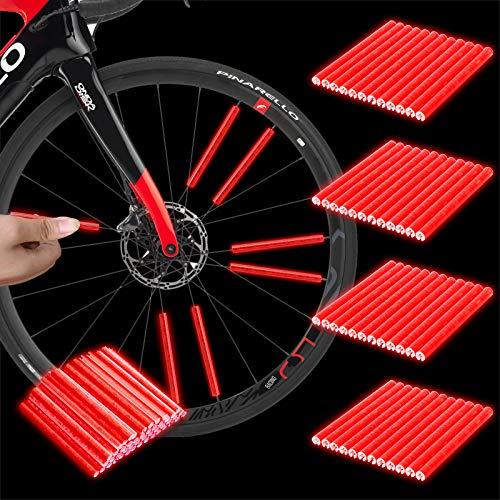 Herefun Bicicleta Spoke Reflector, 48 Piezas para Bicicleta Ciclismo Reflectante Clips, Alta Visibilidad Reflectores, Reflectante para Rueda, Cubierta de radios (R)