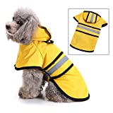SMALLLEE_LUCKY_STORE Waterproof Dog Raincoat with Hood Pet Rain Jacket with Harness Leash Hole Reflective Band Lightweight Adjustable Slicker Poncho Rainwear for Small Medium Large Dogs,Yellow M