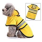 smalllee_lucky_store réfléchissante manteau chien pluie avec capuche manteau imperméable avec trou de laisse légère réglable poncho pour petite moyenne et grande taille chiens,jaune,S