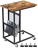 EKNITEY Sofa Side Table,Mobile C Shaped End Table Snack Table with Wheels and Side Pocket for Living Room,Laptop,Bedroom,Coffee,Couch and Small Spaces (Rustic Brown)