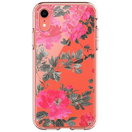 Funda compatible con iPhone XS Max funda ultrafina de gel de sílice, transparente, diseño de flores, protección antiarañazos 6 talla única