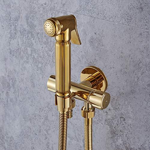 AXWT Gold Eins In Zwei Aus Drei Links Eckventil Dusche 4 Punkte G1 / 2 Alle Bronze Falle Multifunktions Waschmaschine Dreieck Ventil Wasserhahn (Color : Full set)