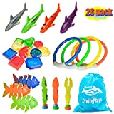 YJOO 26Pcs Diving Toys Underwater Children's Toys Diving Pool Toy Rings Toypedo Bandits Stringed Octopus & Diving Fish Underwater Treasure Gift Sets