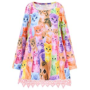 Girls Tunic Top Lace Long Sleeve Unicorn Tee Loose Fit Soft Blouse Swing T-Shirt