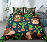 PATATINO MIO Hedgehog Duvet Cover Kids Twin Size 3D Microfiber Cartoon Hedgehog Playing with Cacti Red Floral Cherries Printed Background Blue Bedding Set Gift for Boys Girls No Comforter