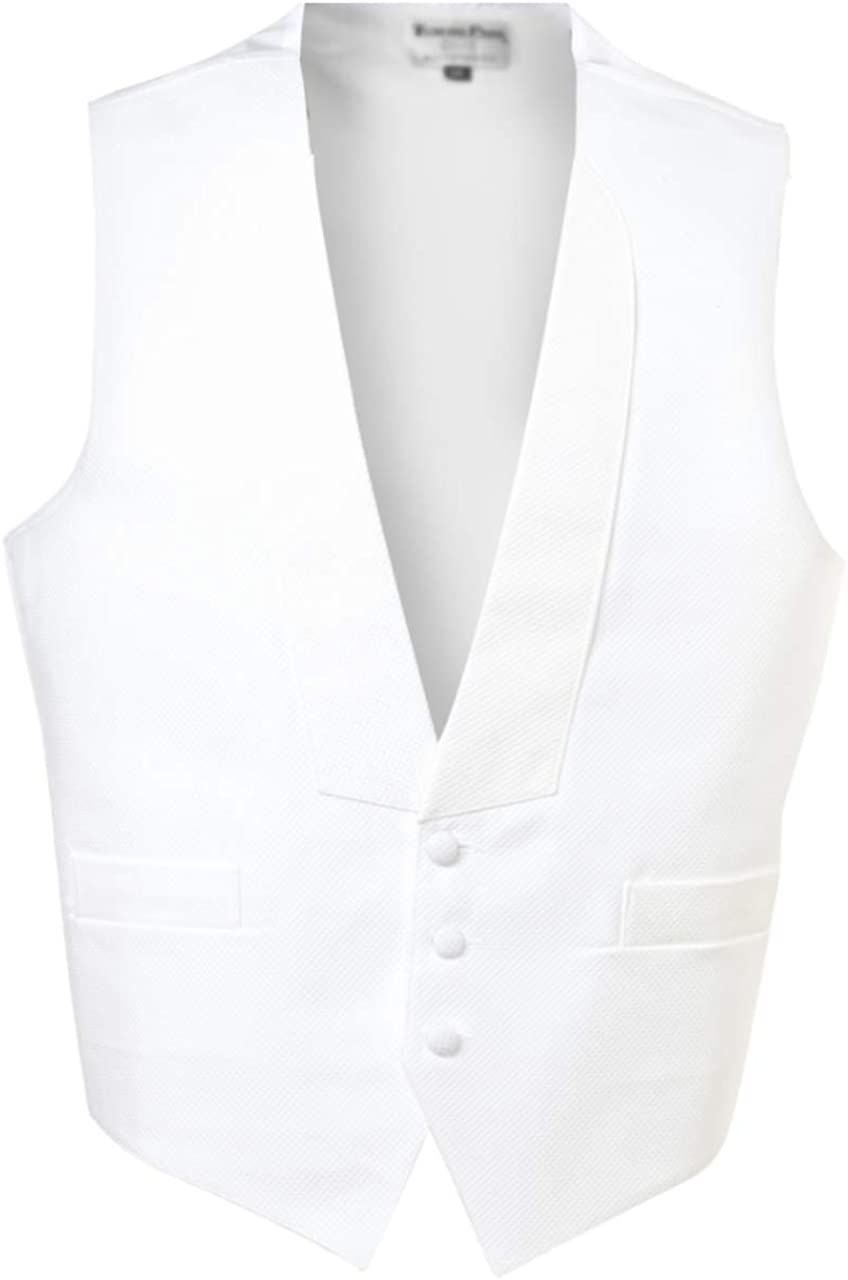 Mardi Gras White Cotton Pique Full Back Tuxedo Vest and Pre Tied Bow Tie Size Large Long
