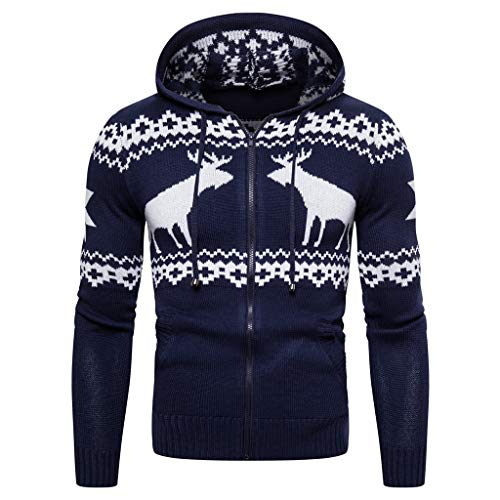 Great Features Of Mens Casual Christmas Sweater, Full Zip Reindeer Print Kangaroo Pocket Knitted Hoo...