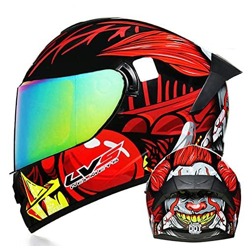 Casco de motocicleta Casco de motocross de doble visera integral Aprobado ECE Con tres opciones de lentes de color Casco de carreras para hombres y mujeres adultos,7,L 59~60cm
