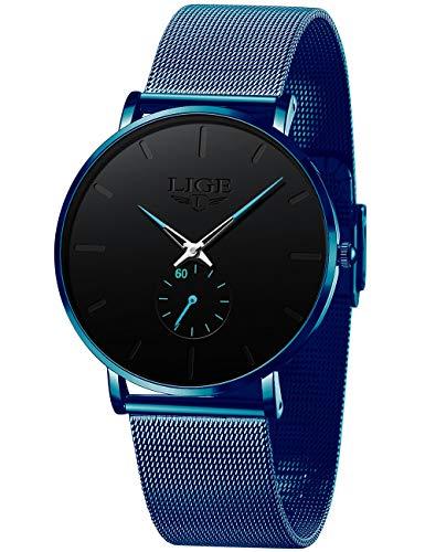 LIGE Hombres Reloj Ultra Delgado Azul Reloj De Cuarzo Analógico De los Hombres Moda Acero Inoxidable Impermeable Reloj De Correa De Malla