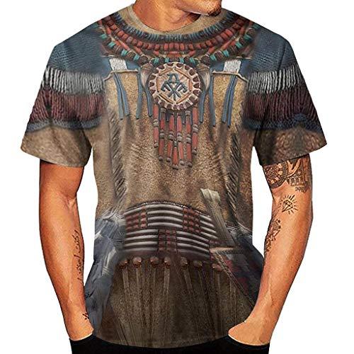 Camiseta para Hombre, Verano Impresión Manga Corta T-Shirt Varios Estilo étnico Vintage...